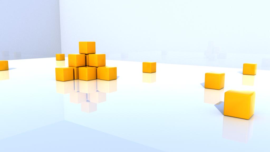 積み上げられた立方体がある空間